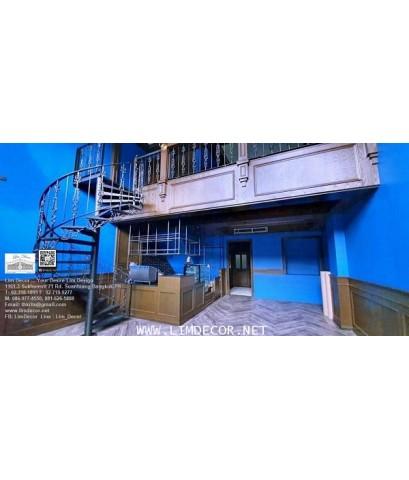 LD–B1282 บันไดวนพร้อมโครงหลังคาเมทัลชีท กรุงเทพฯ Metal Spiral Staircase with Metal Sheet Roofing