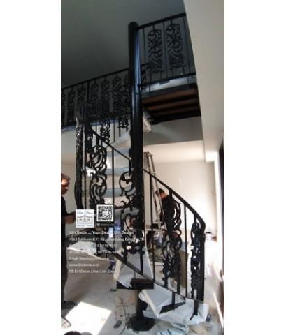 LD–B1272 บันไดวนอัลลอย พร้อมราวบันไดอัลลอย โครงหลังคา กรุงเทพฯ Alloy Spiral Staircase