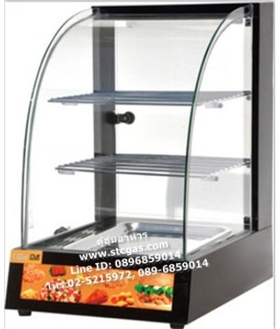ตู้อุ่นอาหารตะแกรง 3 ชั้น ขนาด 1 ถาด กระจกโค้ง รุ่นใหม่