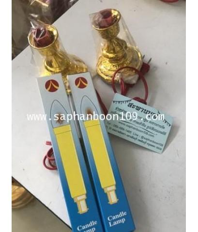 ธูปไฟฟ้า 3 ดอก + เทียนคู่สีเหลือง  ตราหงษ์มังกร