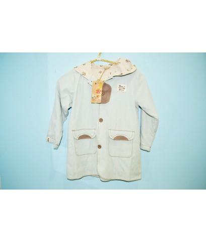 เสื้อกันหนาวนำเข้า   ผ้ายีนส์สีอ่อนตัวยาวเนื้อบางกระดุมไม้  size.4Y