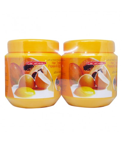 Carebeau Hair Treatment Papaya  Egg Yolk Wax 500 ml. ทรีทเม้นท์แพ็คคู่ 1 แถม 1 W. 1100 รหัส H171