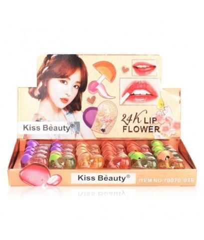 Kiss Beauty 24K Lip Flower ลิปมันเปลี่ยนสี Package รูปหัวใจสุดน่ารัก ราคาส่งถูกๆ W.520 รหัส L930