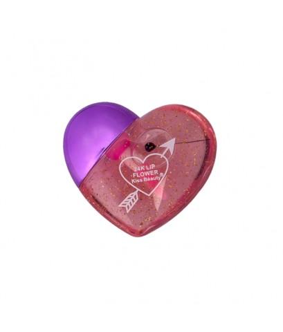 Kiss Beauty 24K Lip Flower ลิปมันเปลี่ยนสี Package รูปหัวใจ สีม่วง W.520 รหัส L930-3