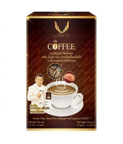 กาแฟยิ่งยง LIVNEST COFFEE กาแฟปรุงสำเร็จชนิดผง ผสมถั่งเช่า และสารสกัดเห็ดหลินจือ W.180 รหัส.CP92