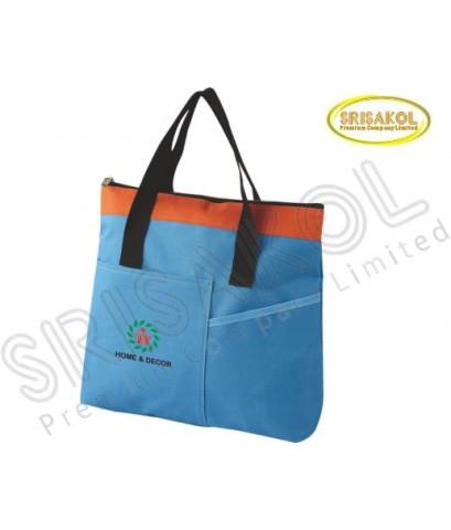 กระเป๋าช้อปปิ้ง สีฟ้า สลับ สีส้ม รหัส A2014-10B