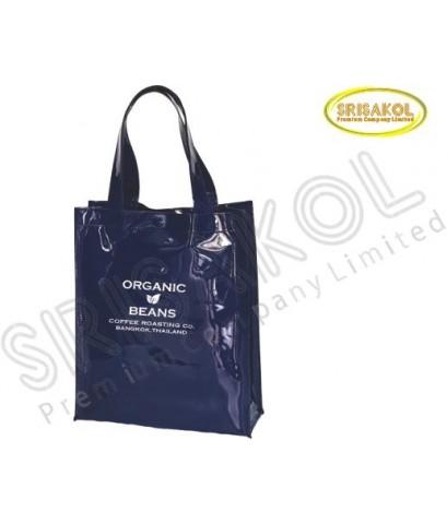 กระเป๋าช้อปปิ้ง ผ้าหนังแก้ว สีกรมท่า  รหัส A2017-16B