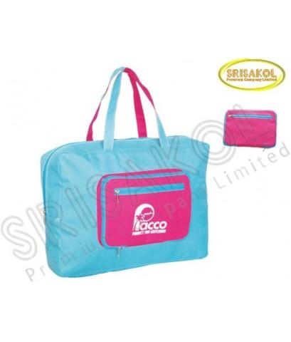 กระเป๋าช้อปปิ้งพับเก็บได้  สีฟ้า/บานเย็น  รหัส A1930-2B