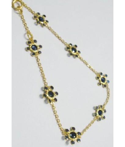 (ขายแล้ว) a81601 สร้อยข้อมือหลุดจำนำ ไพลินเจีย ดอกไม้ และพลอยมาคีย์ เส้นเล็กๆๆๆ  พลอยเม็ดเล็กๆค่ะ เป