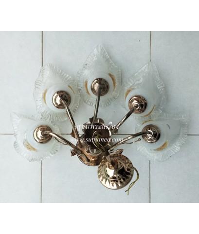 ขายชุดโคมไฟระย้าทรงเปลือกหอย โครงสีทอง (สินค้ามือสอง) {ราคาถูก..เสมือนได้ฟรี !!}
