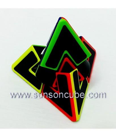 Dual Pyraminx with black carbon sticker - Lefun / Body color