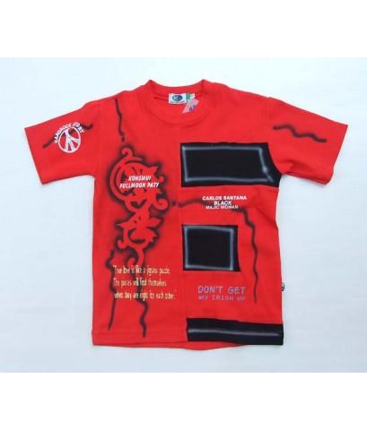KCJ เสื้อ T-shirt แขนสั้นสีแดงสดใส ต่อสีดำ+สกรีนลายสไตล์แนวๆด้านหน้า ขนาด 8 ปี