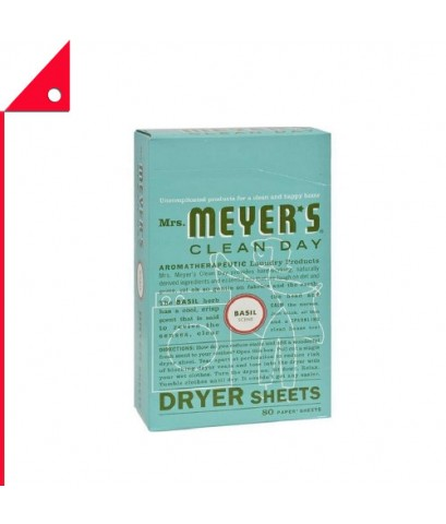 Mrs. Meyer's : MMY14448* แผ่นอบผ้า Clean Day Dryer Sheets Basil Scent, 80 Count