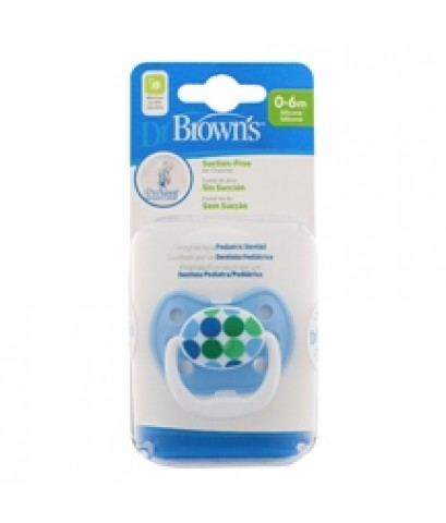Dr.Brown\'s : DRBPV11408-GBX จุกหลอก PreVent CLASSIC SHIELD Pacifier, Stage 1 * 0-6M - Blue, 1pk