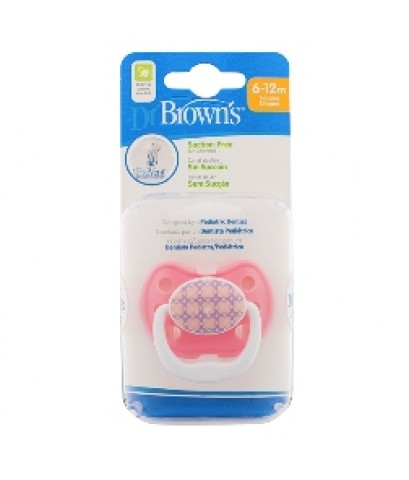 Dr.Brown\'s : DRBPV21308-GBX จุกหลอก PreVent CLASSIC SHIELD Pacifier, Stage 2 * 6-12M - Pink, 1pk.
