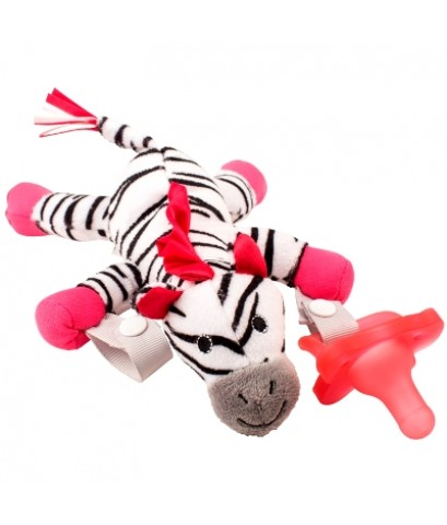 Dr.Brown\'s : DRBAC156 จุกหลอก Zebra Lovey with Pink One-Piece Pacifier
