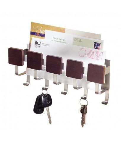 InterDesign : ITD94271* Formbu Wall Mount Key  Mail Rack, Espresso/Brushed Stainless Steel
