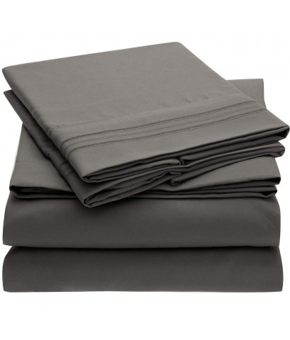 Mellanni : MLN056104* ชุดผ้าปู Bed Sheet Set 4 pieces (Queen, Grey)