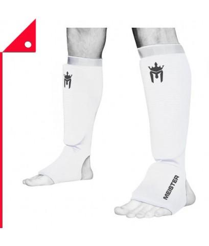Meister : MST WHE-XL* สนับแข้ง MMA Elastic Cloth Shin  Instep Padded Guards XL, White