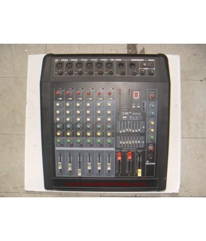 Power mixer มิกเซอร์ 6 CH มีEQในตัว พร้อมลำโพงและขาตั้ง