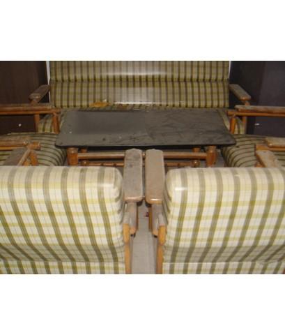 โซฟาขาไม้แท้โบราณพร้อมโต๊ะกระจก