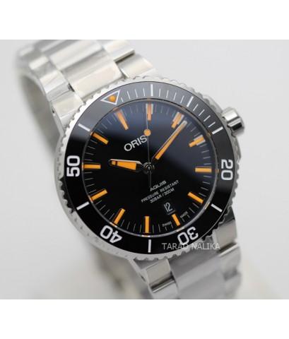 นาฬิกา Oris Aquis Date 73377304159 New Black dial เข็มส้ม
