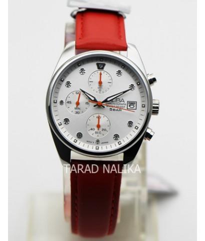 นาฬิกา ALBA modern ladies crystal AM3231X1 สายหนังสีแดง
