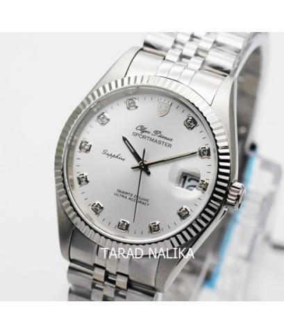 นาฬิกา Olym pianus sportmaster sapphire 89322G-658 หน้าปัดสีเงิน King size