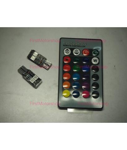 หลอดไฟหรี่ T10 LED เปลี่ยนสีได้ด้วยรีโมทไร้สาย