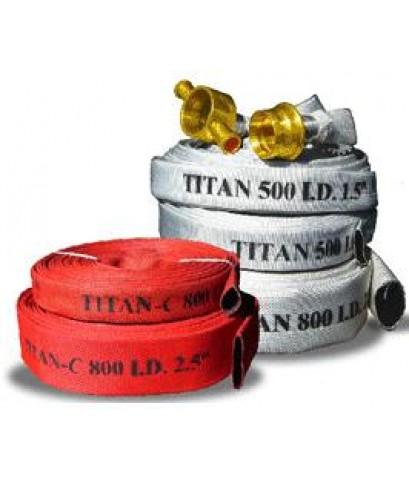 สายส่งน้ำดับเพลิงชนิดผ้าใบ Synthetic 100 ภายในเป็นยางสังเคราะห์ 300 psi ยี่ห้อ Titan มาตรฐาน FM