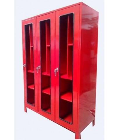 ตู้เก็บชุดดับเพลิงและอุปกรณ์อื่นๆ ขนาด 180x160x43 cm.กระจกเซฟตี้ เหล็กเบอร์16