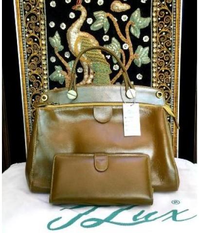 กระเป๋าหนังแท้ Tlux item NF001HH + กระเป๋าสตางค์ 16 สีเขียวมะกอก