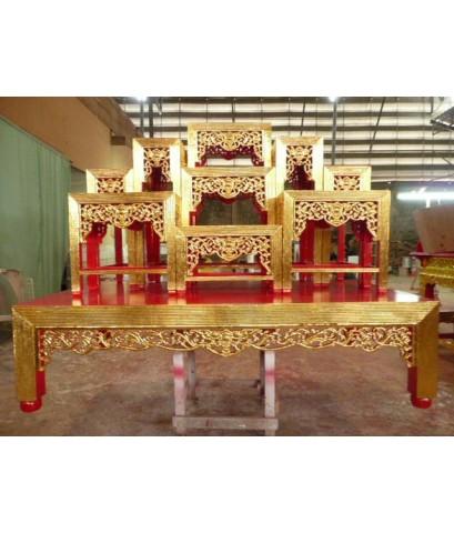 โต๊ะหน้า 10 หมู่ 9 ขาหวาย แกะลายค้างคาว ปิดทอง