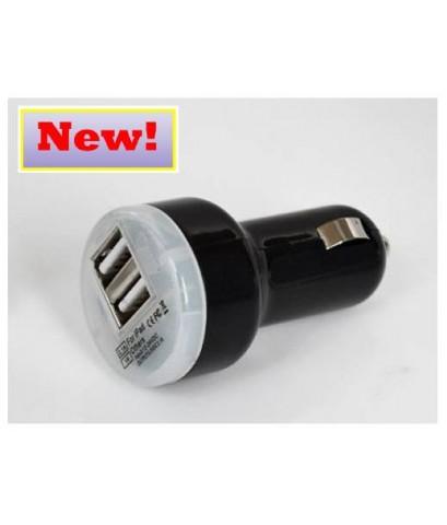 ที่ชาร์จโทรศัพท์ Iphone, IPAD, Samsung ในรถแบบ 2 Port สีดำ ส่งฟรี