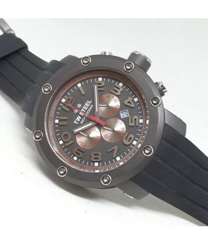 TW STEEL Micdoohan edition moto GP quartz chronograph หน้าปัดเทาประดับหลักเวลาอารบิคเงิน บอกวันที่ตำ