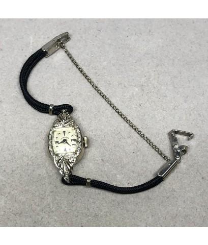 HAMILTON Diamond vintage 1930 for lady size 14x33 mm หน้าปัดขาวประดับหลักเวลาหมุดเงิน กระจกพลาสติค ต