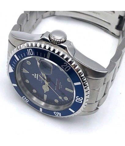 ELGIN Automatic Deepsea 200m ขนาด 39mm หน้าปัดน้ำเงินเงา กระจกเรียบ ขอบฟิล์มน้ำเงิน ตัวเรือน และสายแ