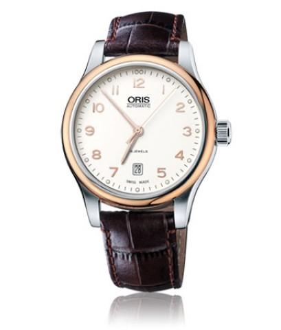 Oris Classic Date นาฬิกาข้อมือผู้ชาย สีน้ำตาล สายหนัง รุ่น 73375944391LS