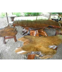 โต๊ะไม้ใยได้ตอเเบบธรรมชาตชุดใหญ่