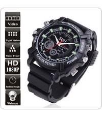 กล้องนาฬิกาข้อมือกันน้ำ + IR Night vision (สไตล์ นักสืบ) 8 GB 15 FPS Resolution 1920x1080 Pixels