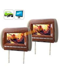 จอฝังหมอน 7 Inch Widescreen Headrest Monitor Pair-Luxury Edition Beige VIP