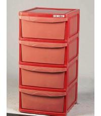 ตู้คิงคอง 4 ชั้นทึบ สีแดง