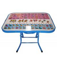โต๊ะหน้า ก.ข. ขอบเหล็ก สีน้ำเงิน