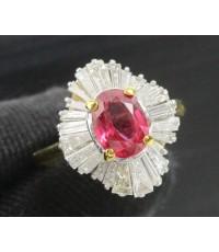 แหวน ทับทิม เจียร ล้อมเพชร Baguette 24 เม็ด 0.80 กะรัต ทอง90 งานสวยมาก นน. 4.16 g