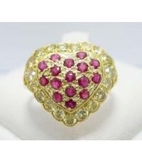 แหวน ทับทิม หัวใจ ล้อมเพชรสีเหลือง 19 เม็ด 0.57 กะรัต งานสวย น่ารักมาก นน. 3.52 g