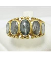 แหวน บุษน้ำเพชร แถว 5 เม็ด ทอง95 งานเก่า หลุดจำนำ นน. 8.01 g