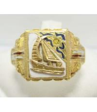 แหวน เรือใบ ทองลงยา แกะลาย งานทองเก่า หลุดจำนำ นน. 7.02 g
