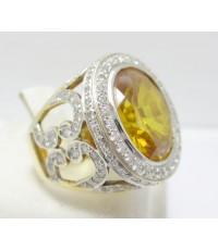 แหวน พลอยเหลือง ฉลุลาย ฝังเพชร 128 เม็ด 1.04 กะรัต งานสวยมาก นน. 13.85 g