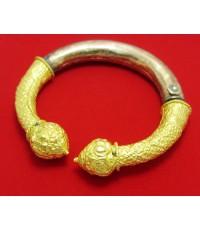 กำไล หัวบัว  ทอง นาก เงิน 3 กษัตริย์  ดุนลาย ทองเก่า งานโบราณ นน. 43.56 g