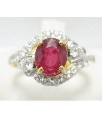 แหวน ทับทิม เจียร ล้อมเพชร 22 เม็ด 0.54 กะรัต งานสวย น่ารักมาก นน. 5.28 g